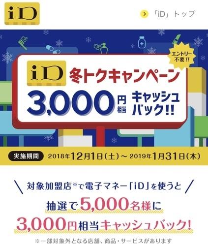 【iDキャンペーン@5000名】3000円以上利用で3000円キャッシュバック(~1/31)