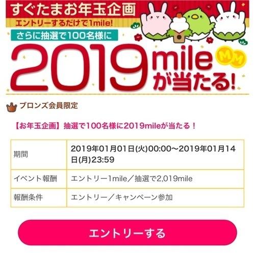 すぐたま新年企画 エントリー&案件利用で2019mileが当たる!