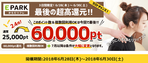 EPARKからだリフレ遂に終了か!?最高報酬6000円の今、最後に利用しまくりましょう!!