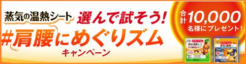 【大量当選懸賞@1万名+α】 「めぐりズム蒸気の温熱シート」Wキャンペーンあり♪