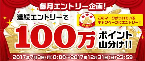 【楽天】 3ヶ月連続エントリーするだけで100万ポイント山分け!~11月分エントリー忘れずに!