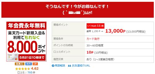 驚!!(゚Д゚ノ)ノ ライフメディア 楽天カード発行で合計21000円!!!!