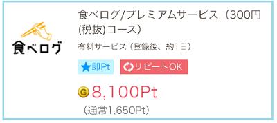 GetMoney 「食べログプレミアム」有料会員登録で差額486円GET♪先月に続き今月も獲得!