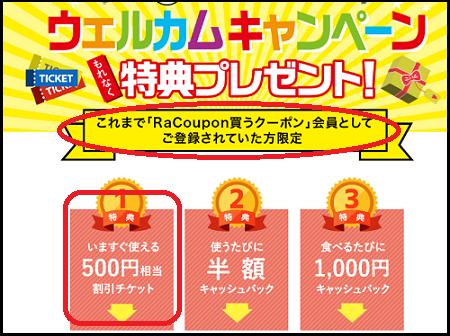 RaCouponからEクーポンに引継ぎで500円クーポンGETしてうどんをタダポチ♪