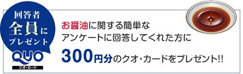 お醤油アンケートでクオカード300円もらえます♪