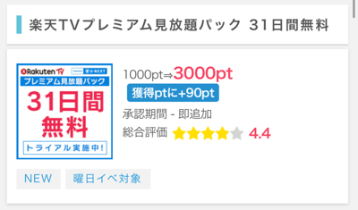 ポイントインカム   楽天TV有料会員登録で300円のお小遣い♪