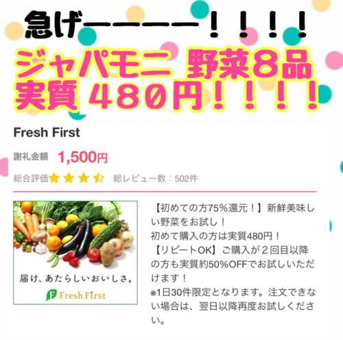 【復活!!】ジャパモニ 新鮮野菜8種実質480円!!!!
