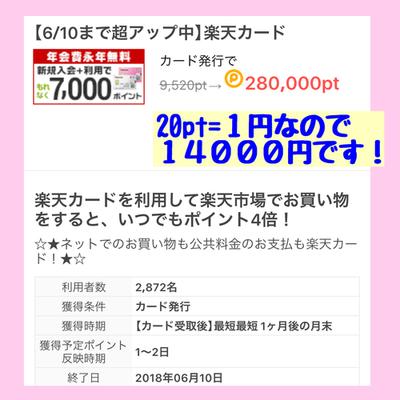 驚!!(゚Д゚ノ)ノ ポイントタウン 楽天カード発行で合計21000円!!!!