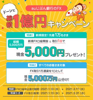 【先着1万名】じぶん銀行FX取引1回で5000円もらえる!