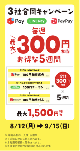NEW【固定】メルペイ、LINE Pay、PayPay セブンイレブンで5週間最大1500円お得!