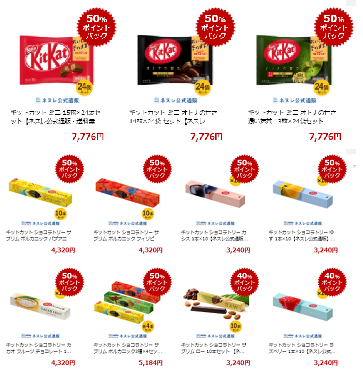 【楽天マラソン12】キットカット50%還元!なんと1袋100円以下!