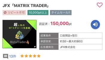 アメフリ JFX50万通貨取引で15000円!約14000円のお小遣い♡