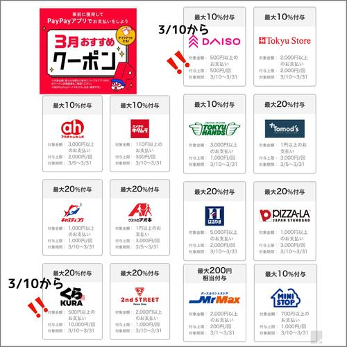 【予告】スゴイ!PayPayクーポンにダイソー10%還元、くら寿司20%還元!