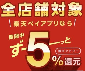 楽天ペイ 全店舗対象5%還元キャンペーン中!(-3/2)