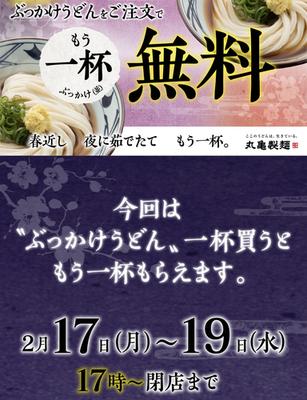【予告】丸亀製麺、ぶっかけうどん注文でまたぶっかけうどん!