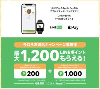 今日まで!【解説】「VISA」LINE PayプリペイドカードApplePay設定&利用で1200ポイントもらえる!
