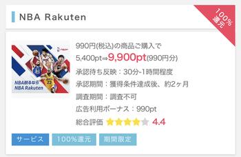 ポイントインカム、SPU+1倍の「NBA Rakuten」100%還元!