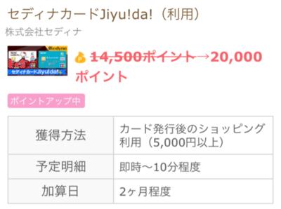 【今日まで】 専業主婦OK!「セディナカードJiyu!da」発行+利用で1万円!!!!