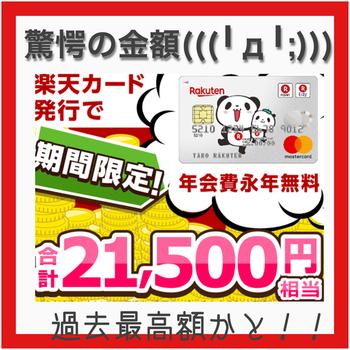 驚!!(゚Д゚ノ)ノ ECナビ 楽天カード発行で合計21500円!!!!
